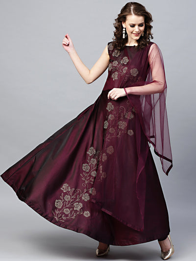 Chhabra 555 Purple Silk Made-to-Measure Kurta Set with Crystal Emellshments in Floral pattern