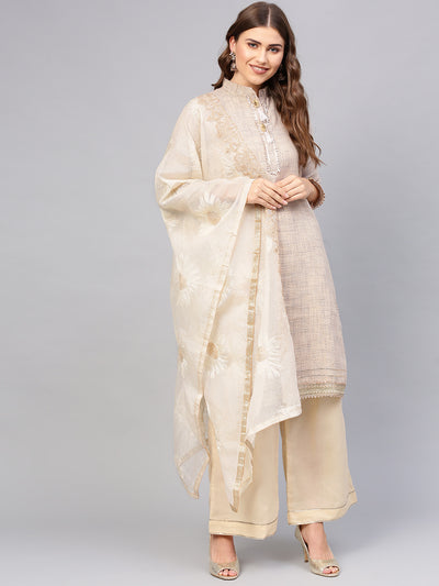 Chhabra 555 Made to Measure Beige Printed Gota Embellsihed Kurta with Resham Embroidered Dupatta and Pallazo