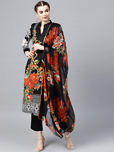 Chhabra 555 Black Floral Printed Crepe Made-to-Measure Kurta Set with Chiffon Dupatta