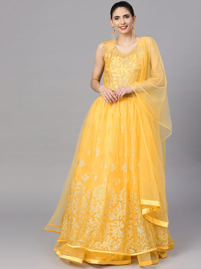 Chhabra 555 Made-to-Measure Yellow Embroidered Gown With Layered Hemline and Sequin Work