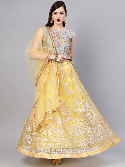 Chhabra 555 Made-to-Measure Crop Top Lehenga Set with Resham Zari Embroidered Blouse and Gota Patti Lehenga