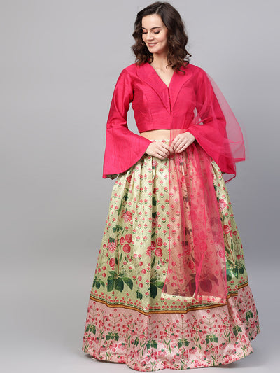 Chhabra 555 Made-to-Measure Digital Print Lehenga Set with flared jacket style bell sleeves crop top blouse