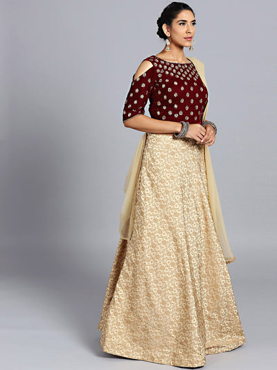 Chhabra 555 Maroon & Gold Micro & Jacquard Silk Hand Embroidered Stitched Lehenga Choli With Net Dupatta