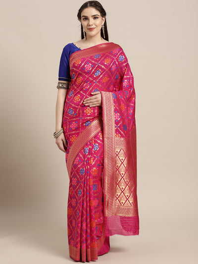 Chhabra 555 Mysore silk saree with intricate zari weaving and Ikat inspired resham pattern