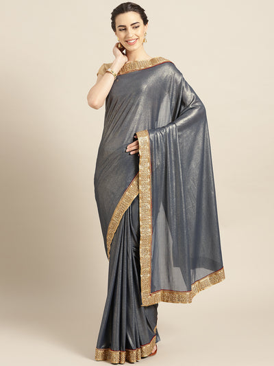 Chhabra 555 Grey Stretch georgette Saree with Pearl and Crystal Embellished border