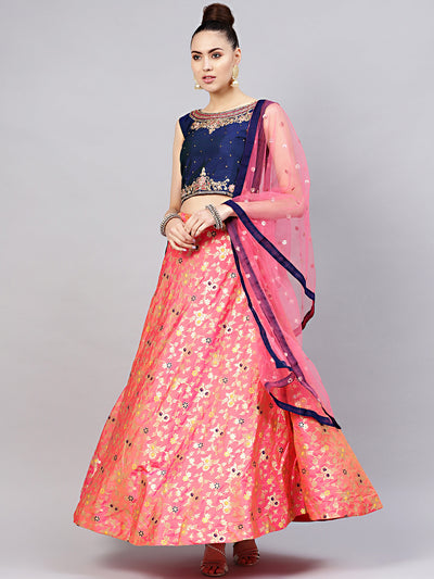 Chhabra 555 Made-to-Measure Crop Top Set with Embroidered blouse, dupata and Banarasi lehenga