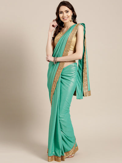 Chhabra 555 Turquoise Stretch georgette Saree with Pearl and Crystal Embellished border