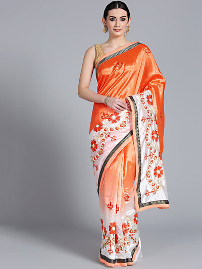 Chhabra 555 Peach Cream Ombre Saree with Resham Zari Embroidered floral motifs