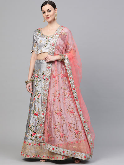 Chhabra 555 Grey Silk Semi-stitched Lehenga Set with Kasab, Zari and Resham floral embroidery