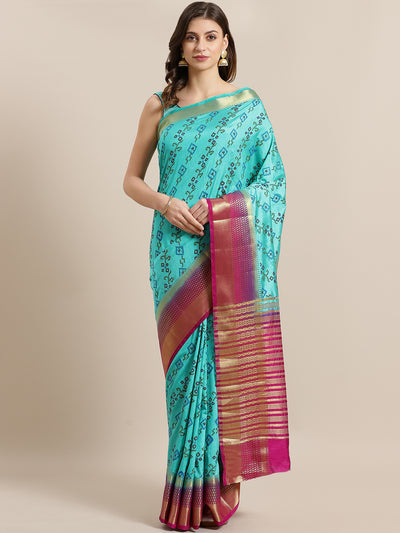 Chhabra 555 Mysore Silk Ikat Print Inspired Saree with intricate Zari Weaving Contrast Border