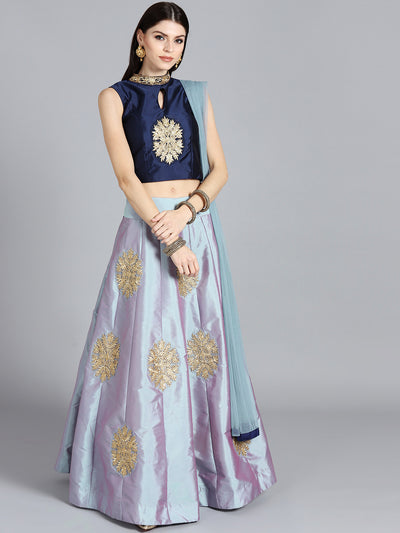 Chhabra 555 Grey & Blue Art Silk Zari Embroidered Stitched Lehenga Choli With Net Dupatta