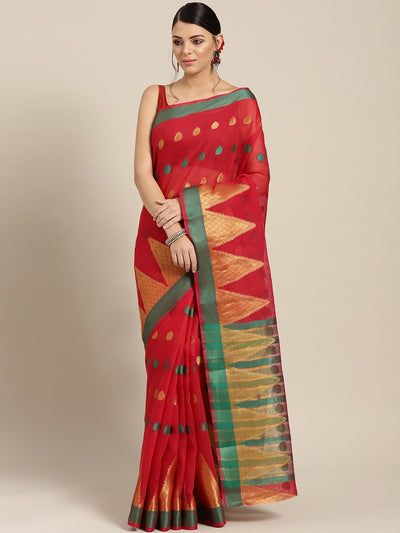 Chhabra 555 Red Chanderi Silk saree with Zari and Resham weaving in a traditional temple pattern