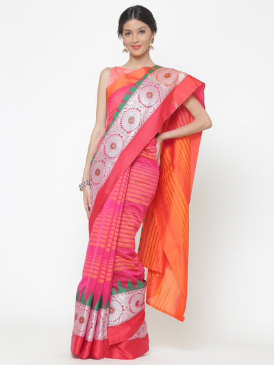 Chhabra 555 Orange and Pink Striped Handloom Banarasi Saree with contrast Green Temple border