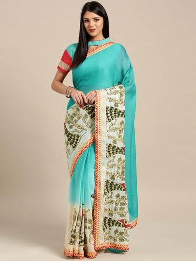 Chhabra 555 Chiffon Ombre Turquoise Cream saree with Resham Embroidered Peacock Motifs