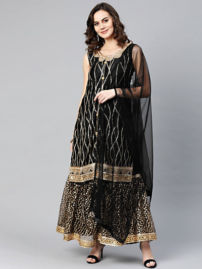 Chhabra 555 Made to Measure Black Kurta Sharara Set With Sequin and Pearl embroidery and cut-work mirror embellished border