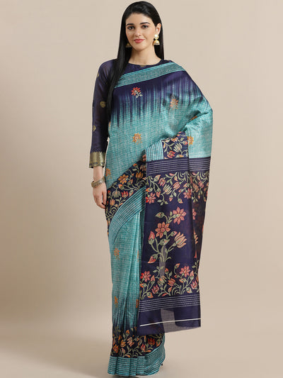 Chhabra 555 Teal French Silk printed Saree with Lotus and Floral Two Toned Digital Design
