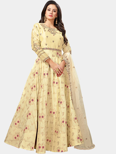 Chhabra 555 Made-to-Measure Yellow Embellished Gown with Banarasi weaving and Zari Embroidered Dupatta