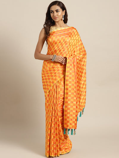 Chhabra 555 Yellow Peach Checkered Gharchola style Silk Saree with Peacock motif Embroidered Blouse