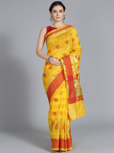 Chhabra 555 Silk Yellow with Zari embroidery and Beautiful Paisley Pattern Design Saree