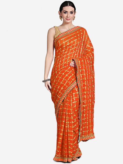 Chhabra 555 orange Georgette Gharchola Saree with Zari Weaving and Gota embroidery
