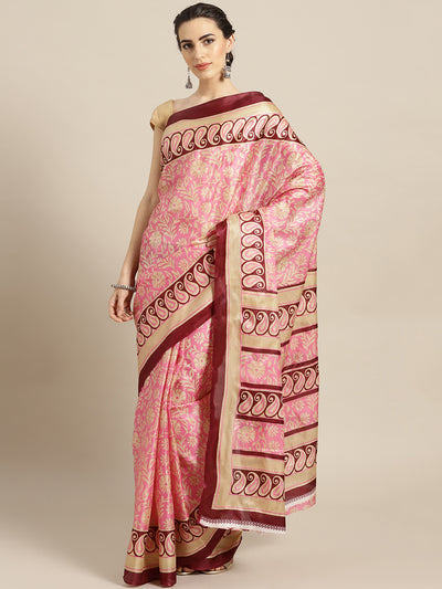 Chhabra 555 PInk Printed Bhagalpuri Saree with Paisley and Floral motifs