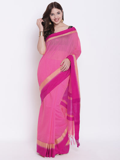 Chhabra 555 Pink Handloom Cotton Silk Saree with Contrast Gold Red Border and Tasseled edges