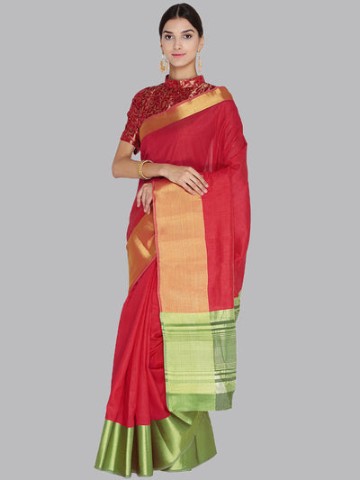 Chhabra 555 Red and Gold Woven Design Banarasi Silk Saree