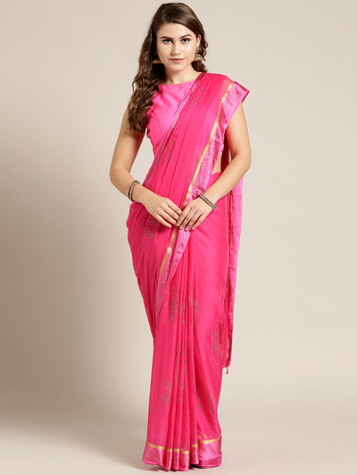 Chhabra 555 Pink Chiffon Hand-dyed saree with Mukaish embellished Satin Border and Radha Rani Motif