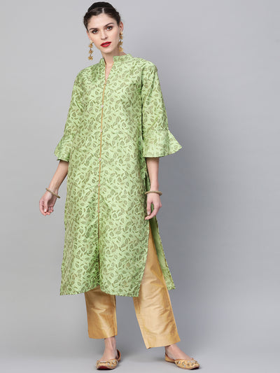 Chhabra 555 Made to Measure Kurta Pants Set With Embossed Floral Print and Stylized Buttons