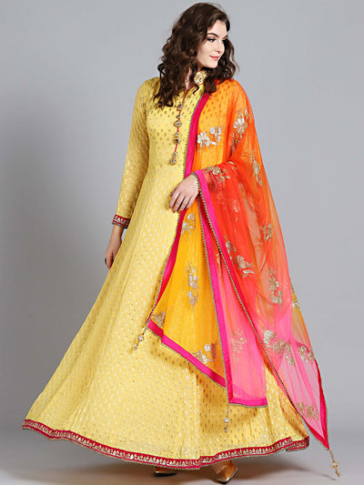 Chhabra 555 Yellow Khaddi Georgette Woven Design Embellished Stitched Anarkali Kurta Set With Heavy Net Dupatta