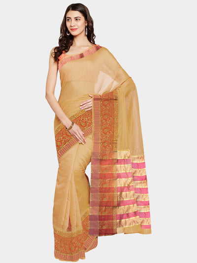 Chhabra 555 Beige Pink Woven Banarasi Cotton Silk Saree