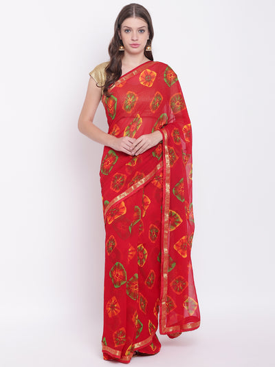 Chhabra 555 Red Georgette Leheriya saree with Quirky Colorful prints and woven border