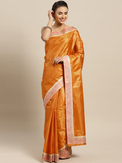 Chhabra 555 Yellow Tussar Silk Banarasi saree with meenakari pattern border