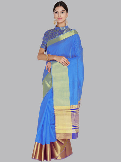 Chhabra 555 Blue and Gold Woven Design Banarasi Silk Saree