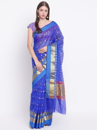 Chhabra 555 Traditional Blue Handloom Chanderi Saree with Gold Zari Woven Design