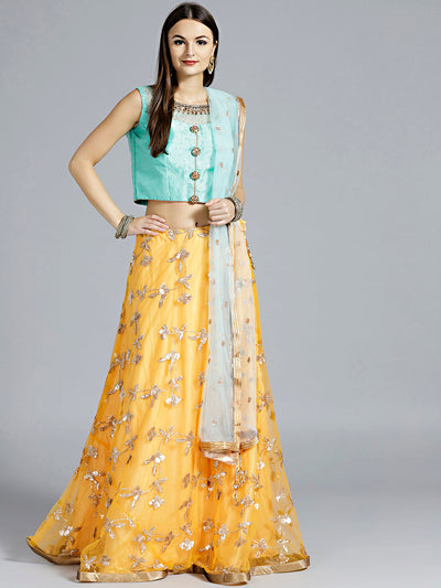 Chhabra 555 Mustard Yellow Contemporary Lehenga with sequin embroidery in floral patterns and contrast teal Dupatta and blouse with hand embroidery