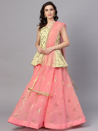 Chhabra 555 Made-to-measure Peach Gold Organza Lehanga With Foil Print, mirror work and Peplum Top