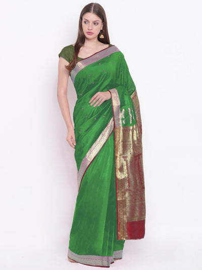 Chhabra 555 Green Red Banarasi Silk Saree with Contrast Green Zari Border