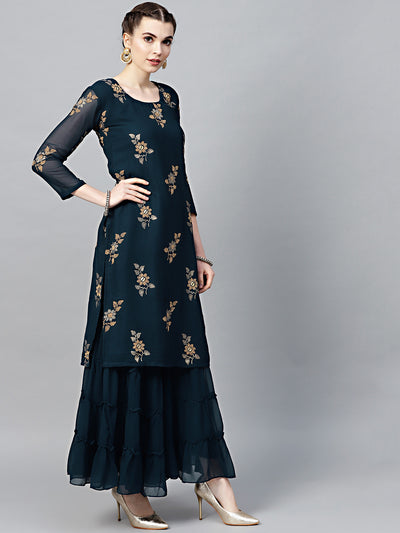Chhabra 555 Navy Blue Georgette Made-to-Measure Kurta Set with Floral Foil Print and Sharara
