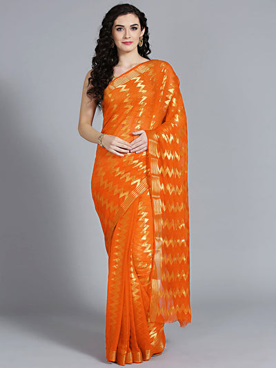 Chhabra 555 Khaddi Mysore georgette Orannge saree with geometric weaved patterns