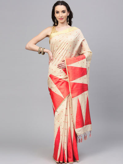 Chhabra 555 Beige Red Banarasi Silk saree with handloom woven temple pattern