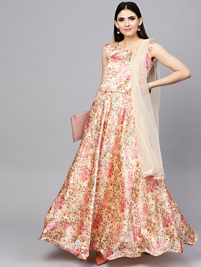 Chhabra 555 Peach Embellished Floral Print Dress with Belt, Dupatta and Cut-out keyhole pattern