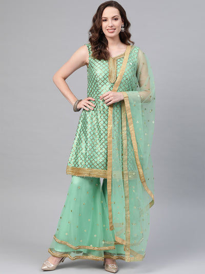 Chhabra 555 Made to Measure Sea Green Kurta Sharara Set With Sequin embroidery and tassled sharara