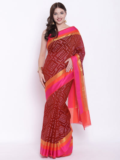 Chhabra 555 Brick Red Handloom Zari Banarasi Silk Saree with Contrast Pink and Orange Borders