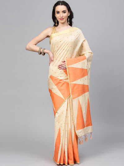 Chhabra 555 Beige and Orange Chanderi Silk Handloom, Hand Woven, Tample, Banarasi Zari Woven Border Saree