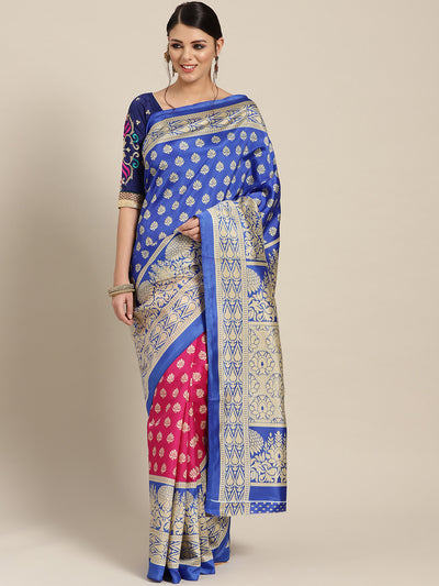 Chhabra 555 Patola Silk Printed Half-and-half saree with Zari Meenakari floral pattern