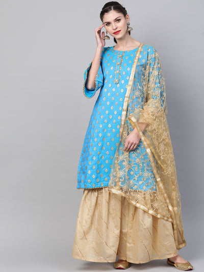 Chhabra 555 Made to Measure Kurta Sharara Set With Embossed Foil Print and Embroidered Dupatta