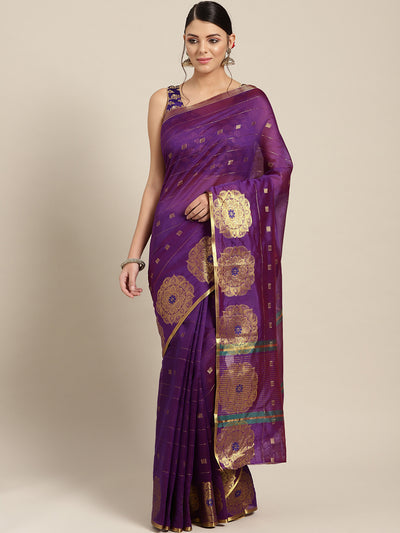 Chhabra 555 Purple Chanderi Silk saree with Zari and Meenakari weaving in a floral pattern