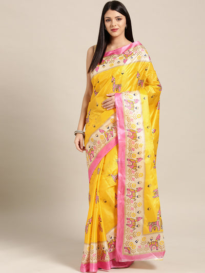 Chhabra 555 Yellow Pink Printed Bhagalpuri Saree with Bright animal and geometric motifs
