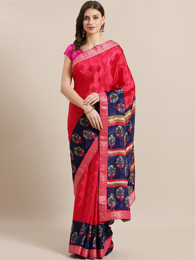 Chhabra 555 French Woven Crepe Printed Saree with Floral Digital printing and Banarasi Border